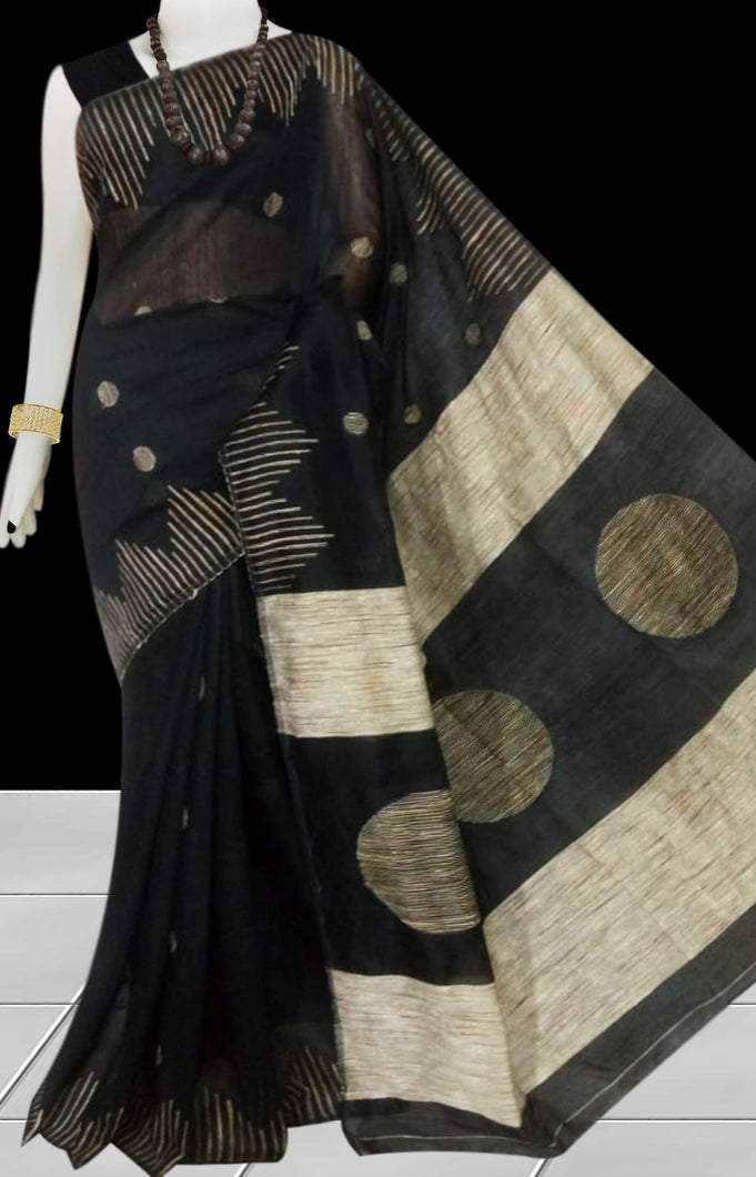 Black color Cotton Silk Handloom Saree with overall ghicha work
