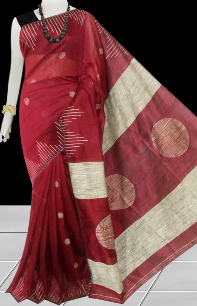 Maroon color Cotton Silk Handloom Saree with overall ghicha work