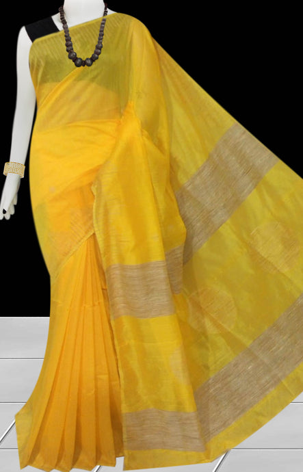 Yellow color Cotton Silk Handloom Saree with overall ghicha work