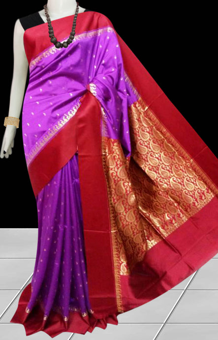 Beautiful Purple Color Base With Red Border Cotton Silk Saree