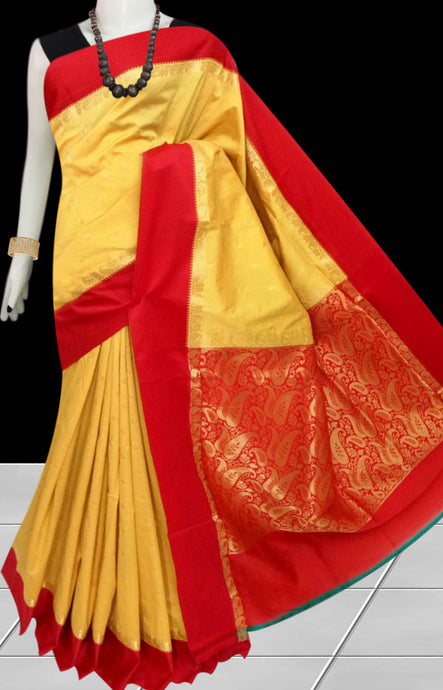 Beautiful Yellow Color Base With Red Border Cotton Silk Saree