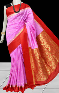 Beautiful Pink Color Base With Red Border Cotton Silk Saree