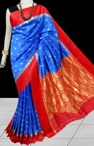 Beautiful Blue Color Base With Red Border Cotton Silk Saree
