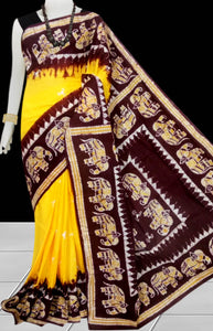 Yellow & chocolate color traditional Cotton Batik Saree