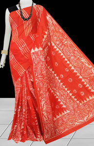 Red & White color traditional Cotton Batik Saree