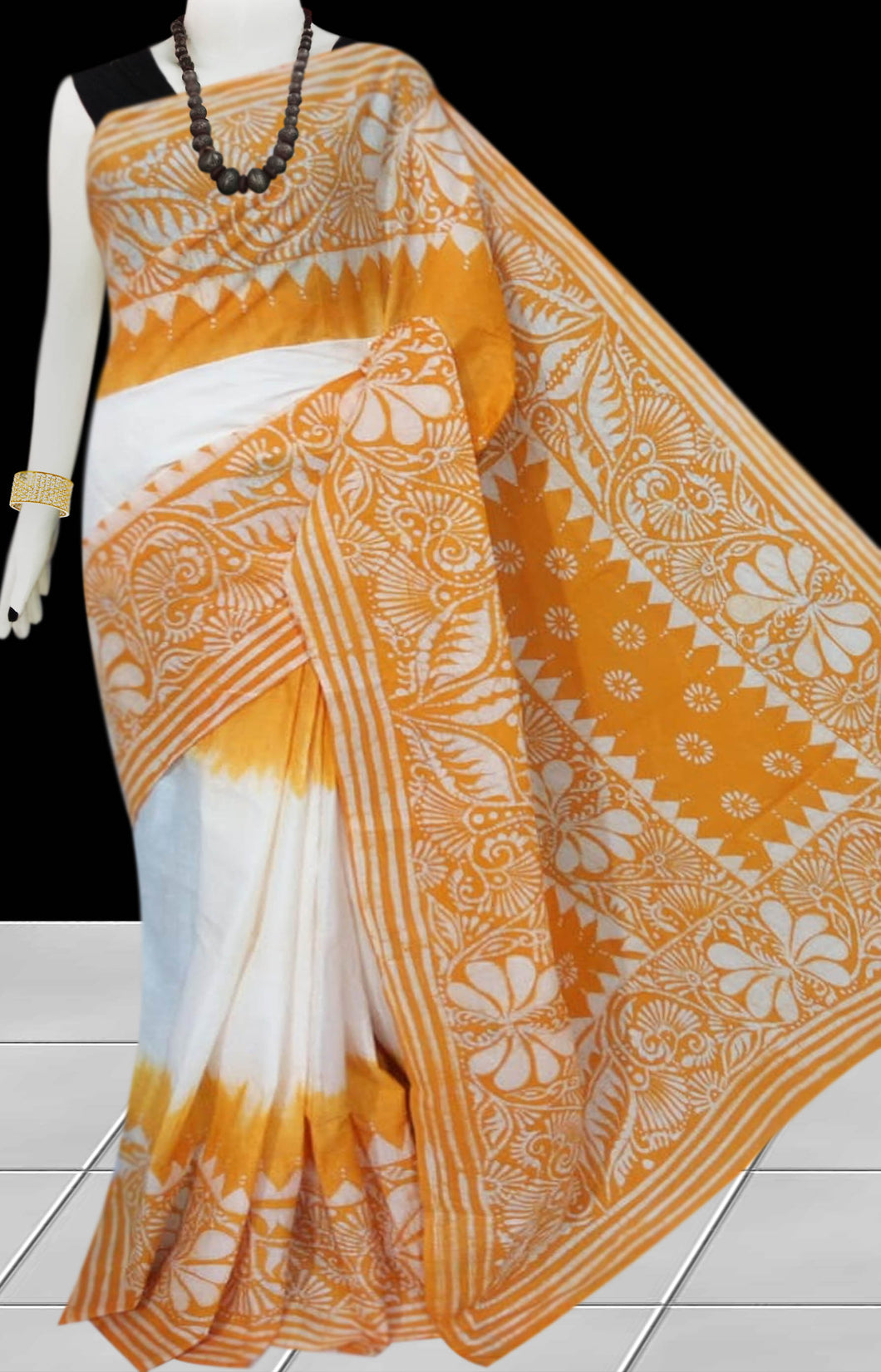 White & Yellow color traditional Cotton Batik Saree