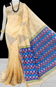 Beige color Handloom saree with overall temple  work