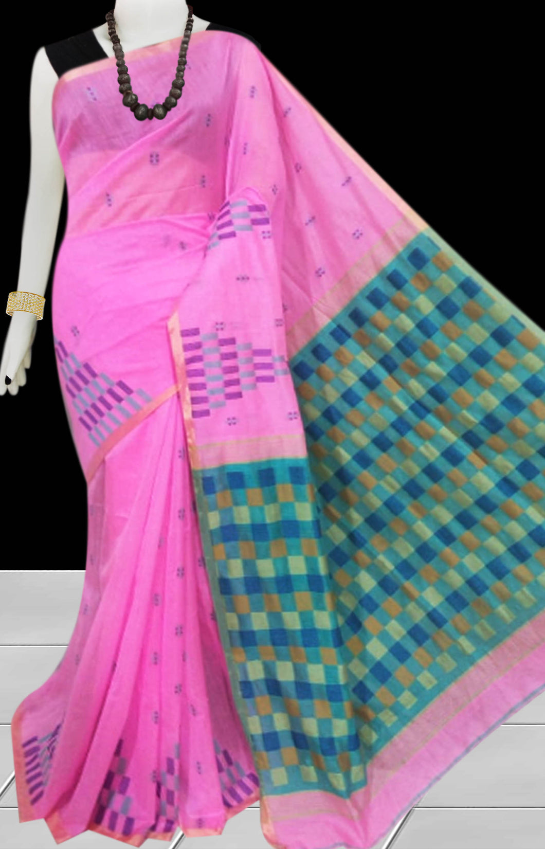 Pink color Handloom saree with overall temple  work
