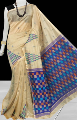 Light Beige color Handloom saree with overall temple work