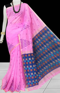 Light Pink color Handloom saree with overall temple work