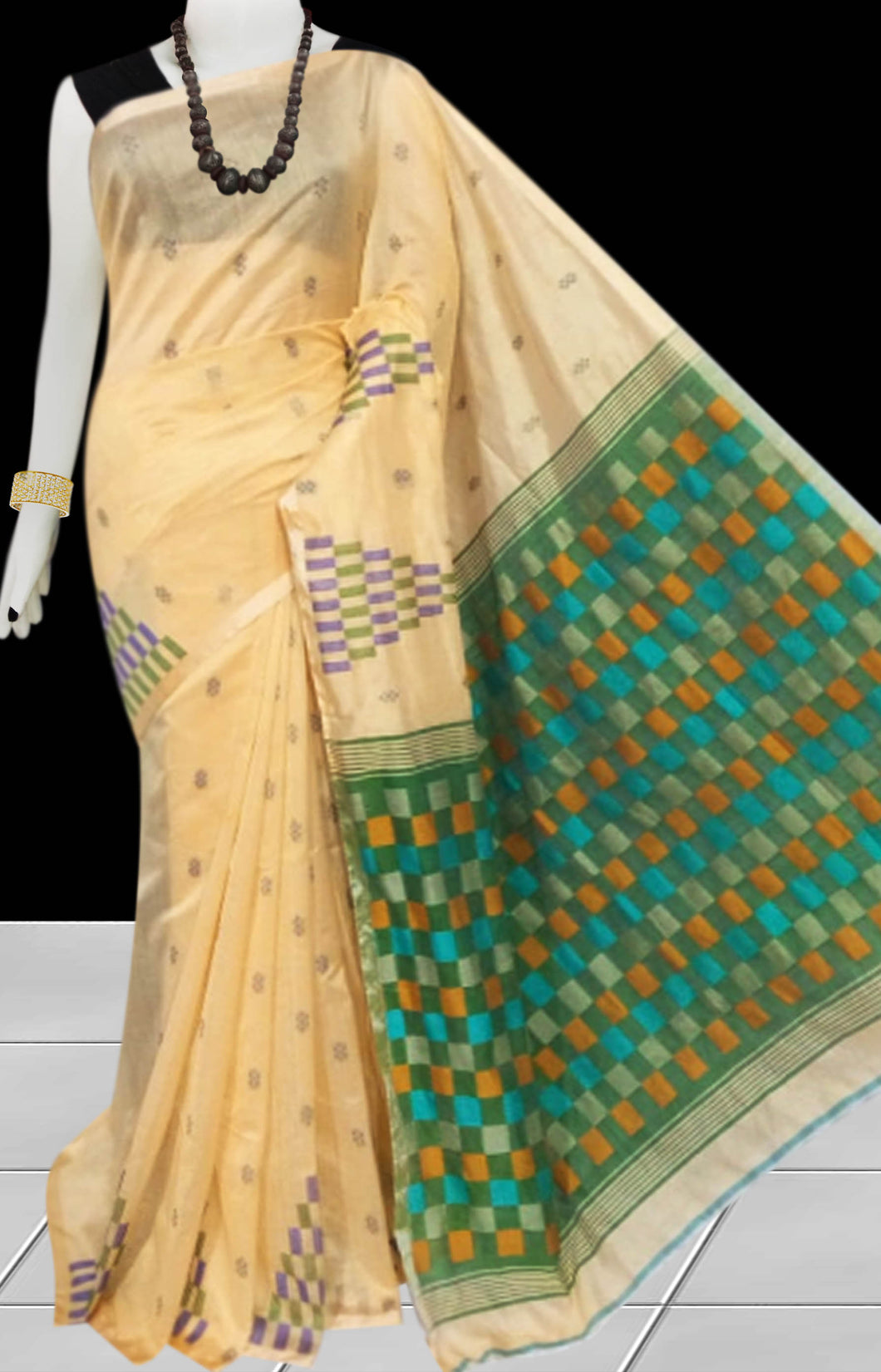 Bright Cream color Handloom saree with overall temple work