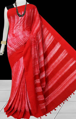 Dark red and white color base cotton handfinished shibori saree