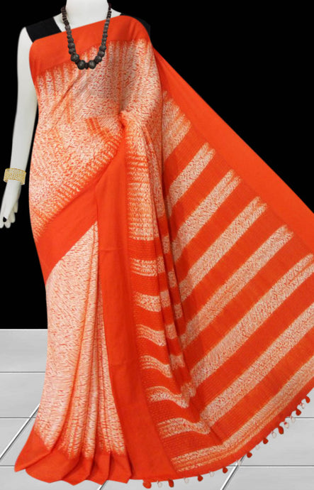 Orange color handfinished cotton base shibori saree