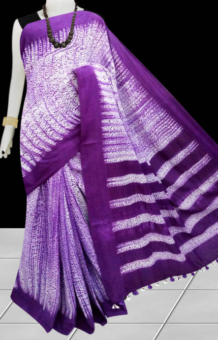 Purple color cotton handfinished base shibori saree