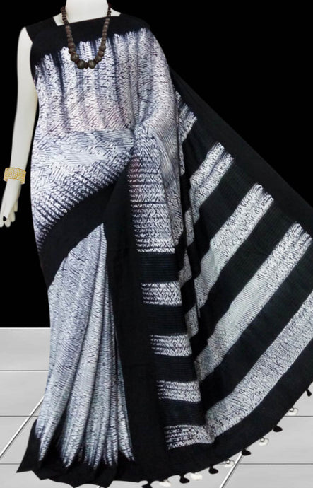 Black and white color base cotton handfinished shibori saree
