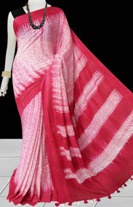 Pink and white color base cotton handfinished shibori saree