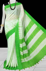 Green and white color base cotton handfinished shibori saree