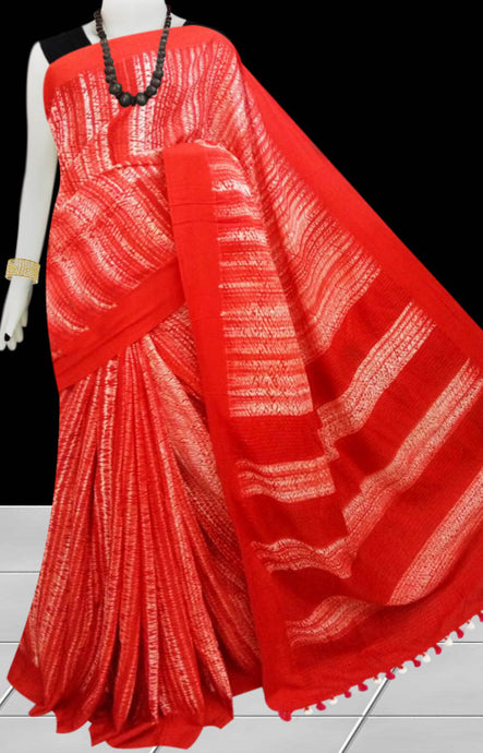Red and white color base cotton handfinished shibori saree