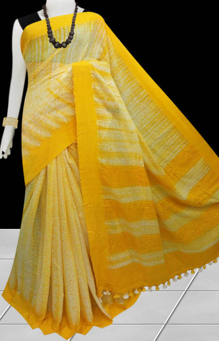Yellow color cotton handfinished base shibori saree