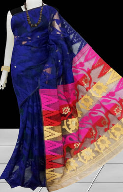 Dark blue color base dhakai Jamdani cotton saree with multicolor jamdani work