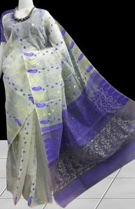 White color base royal dhakai jamdani saree