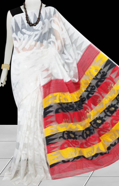 White color base dhakai Jamdani cotton saree with multicolor jamdani work