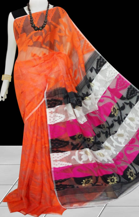 Orange color base dhakai Jamdani cotton saree with multicolor jamdani work
