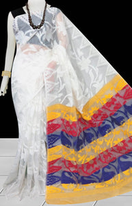 Decent white color base dhakai Jamdani cotton saree with multicolor jamdani work