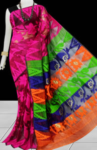 Dark pink color base dhakai Jamdani cotton saree with multicolor jamdani work