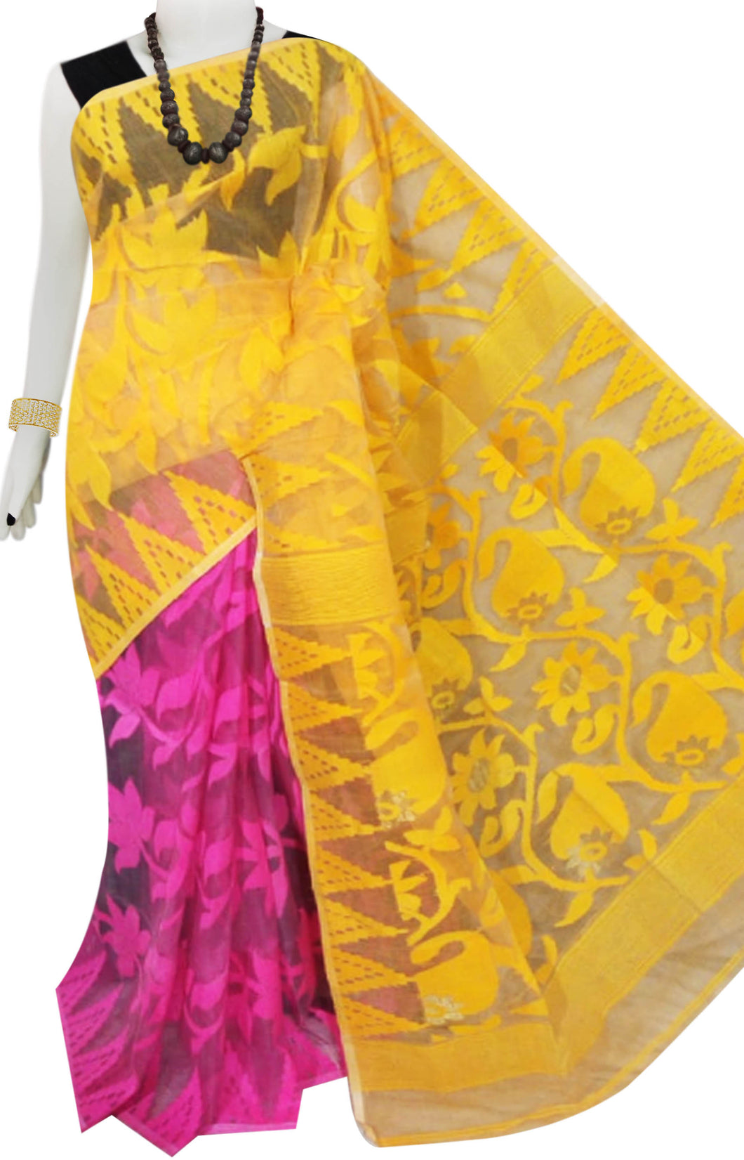 Yellow and pink color base dhakai Jamdani cotton saree with multicolor jamdani work