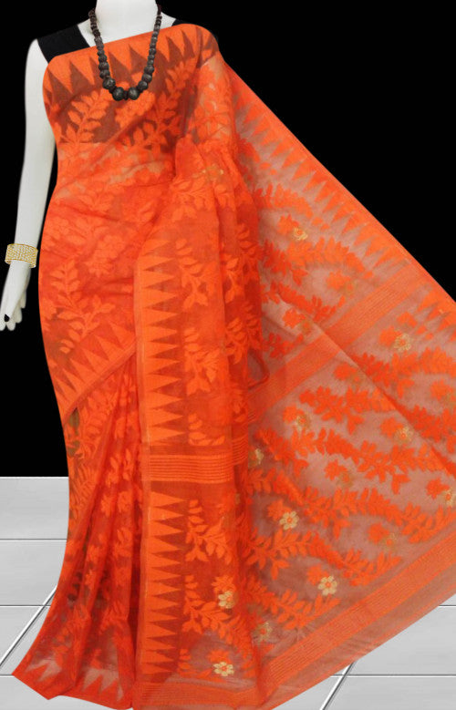 Fashionable orange color dhakai jamdani saree