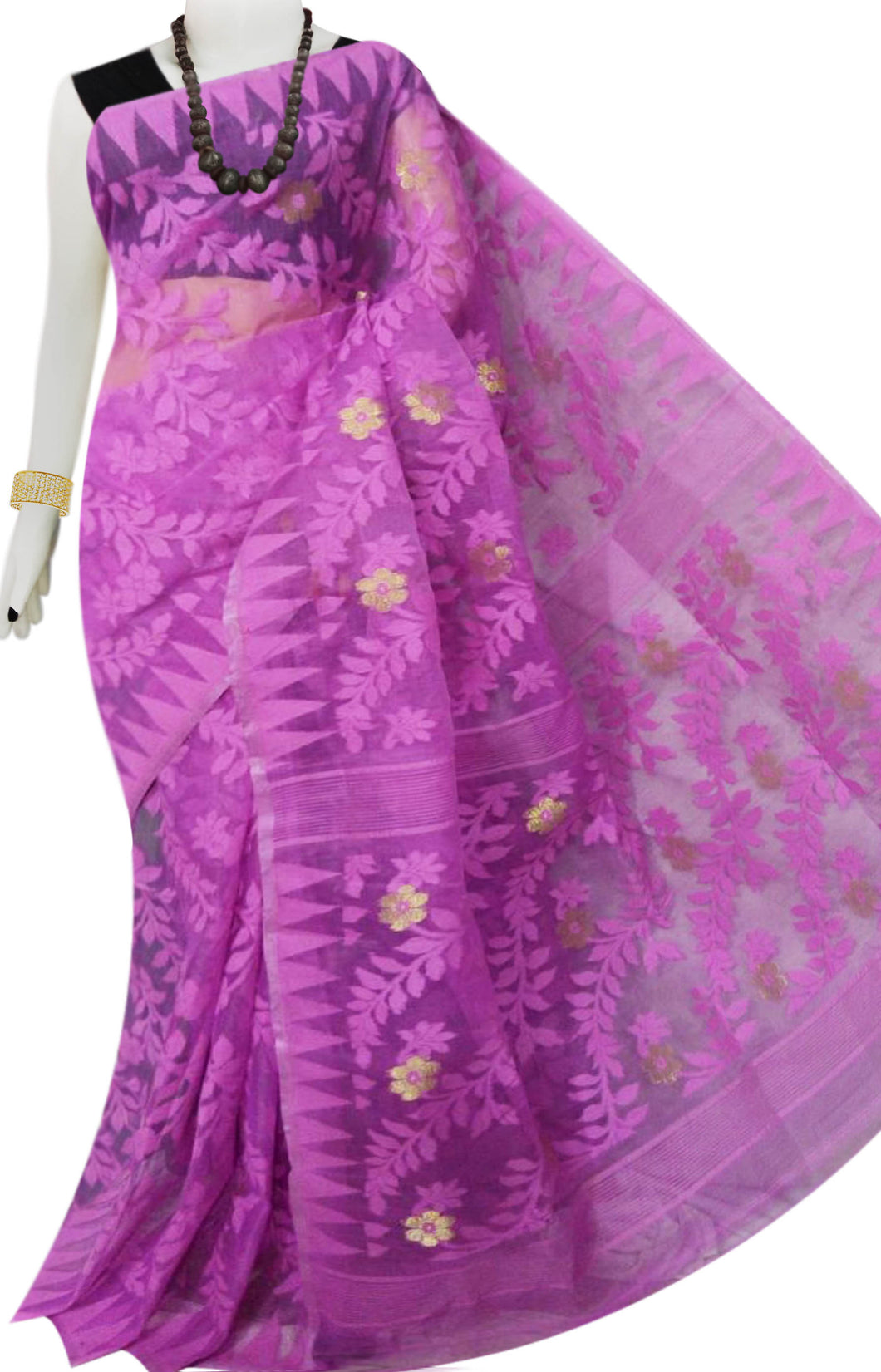 Lovely pink color dhakai jamdani saree