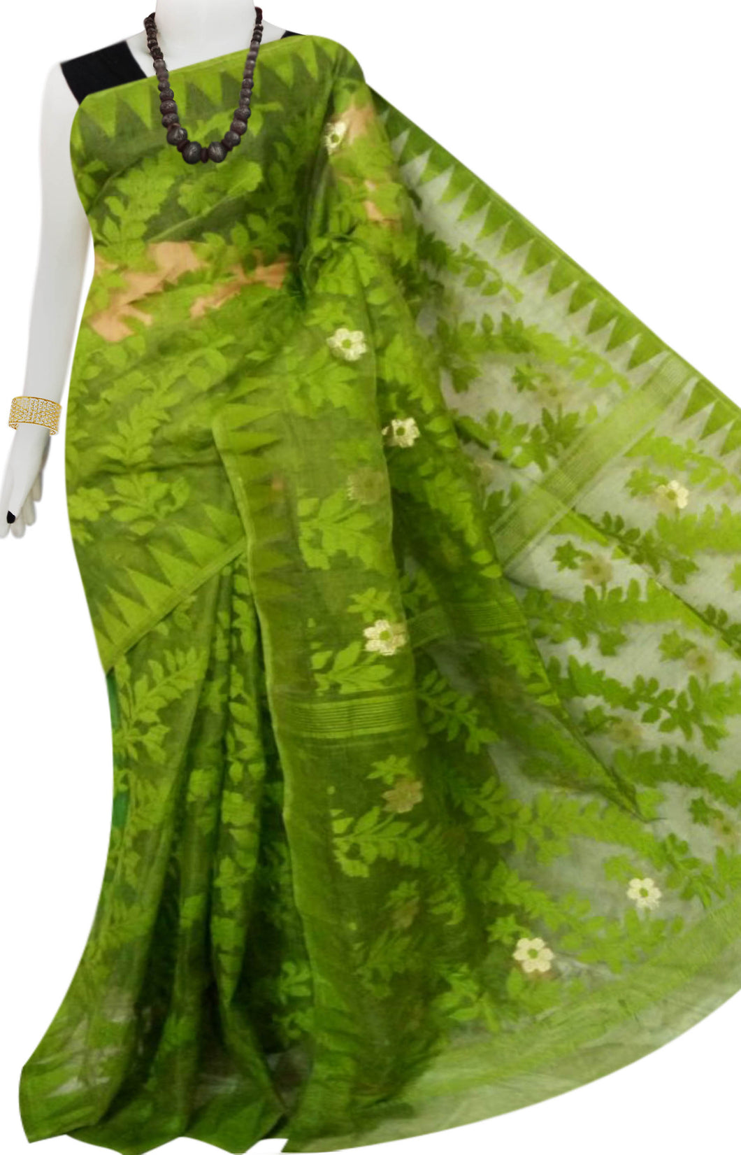 Green Color Dhakai Cotton Jamdani Saree