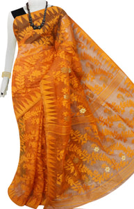 Orange color jamdani saree