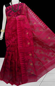 Light marron color dhakai jamdani saree