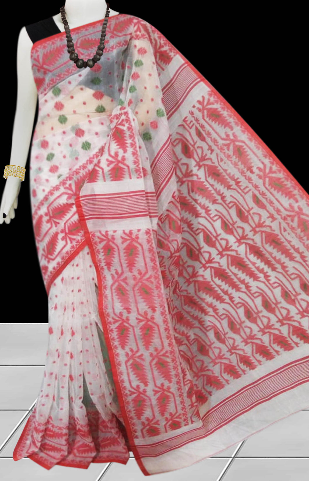 White & Red color combination dhakai Jamdani cotton saree