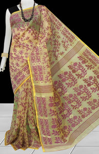 Beige & Magenta color combination dhakai Jamdani cotton saree