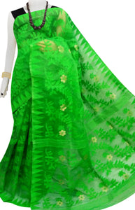 Parrot green color dhakai jamdani saree