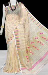 Cream color combination dhakai Jamdani cotton saree