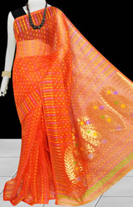 Orange color combination soft dhakai Jamdani cotton saree