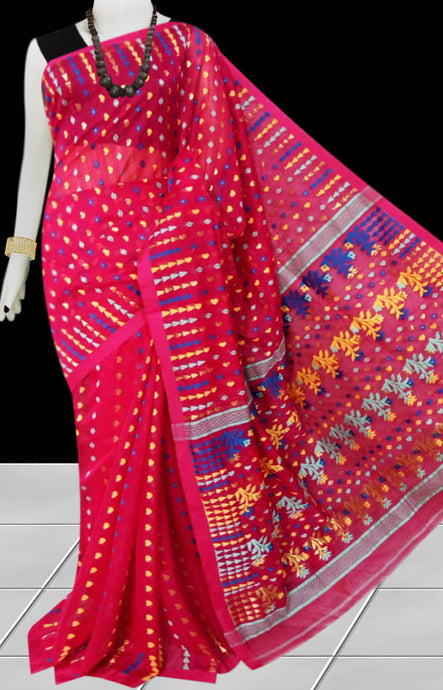 Pure Red color combination dhakai Jamdani cotton saree