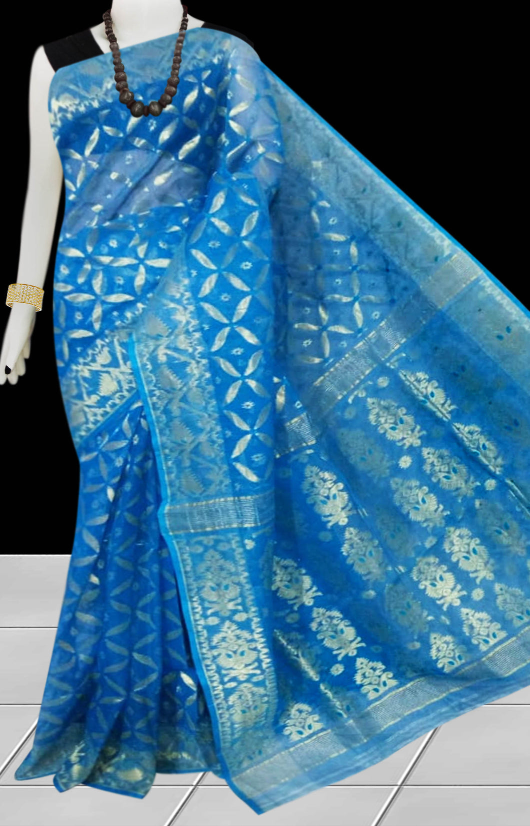 Blue color combination Soft Jamdani saree