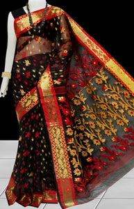 Black & Yellow color combination Soft Jamdani saree