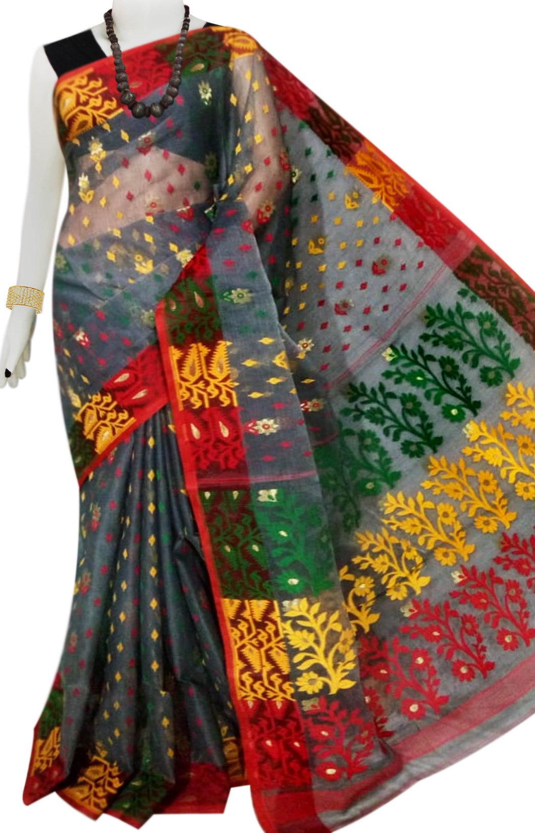 Gray, Red & Yellow color combination Dhakai Jamdani saree