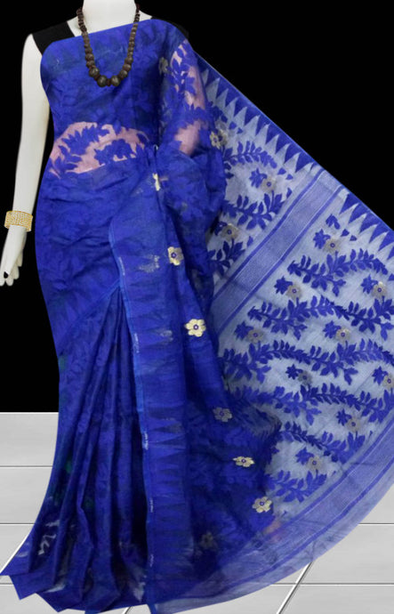 Royal blue color dhakai jamdani saree