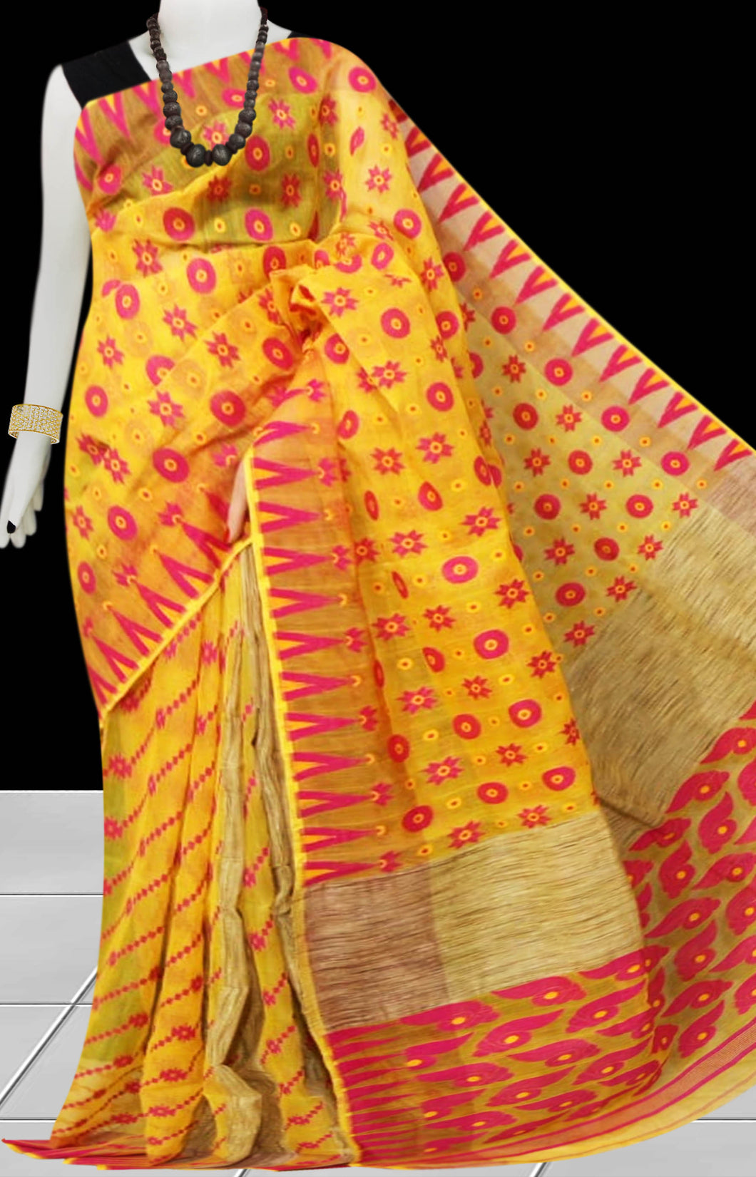 Yellow & Red color combination Dhakai Jamdani saree