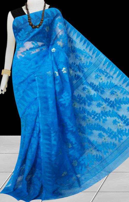 Blue color dhakai jamdani saree