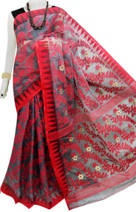 Red and black color combination dhakai jamdani saree