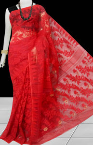 Glorious red color dhakai jamdani saree