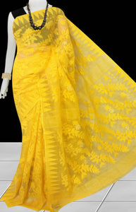Bright yellow color dhakai jamdani saree